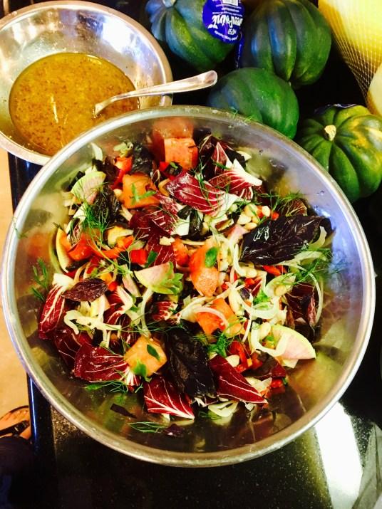 Glacier Lettuce White Bean Watermelon Fennel Salad with Lemon Tangerine Vinaigrette