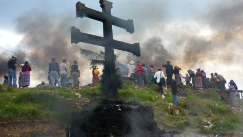 """The cross at the top of the central hill, Paclom, in Momostenango. Paclom is known as """"the six place"""" and the two armed cross represents the four directions combining with the Heart of the Earth and the Heart of the Sky. This picture was taken on Wajxakib B'atz, February 2010."""