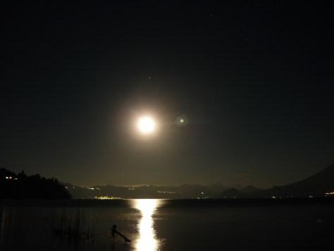 A False Dawn? Moonrise over Lake Atitlan, March 2013 - by Mark Elmy