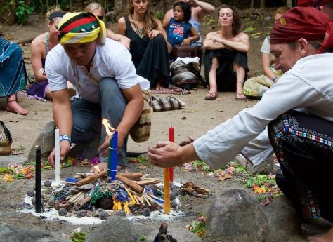Harmony in the community. Tata Isaias, Tata Michel and I lighting a ceremonial fire together for the closing ceremony of the Festival of Consciousness, San Marcos La Laguna, March 21st 2016. Picture by Tuolovme Levenstein