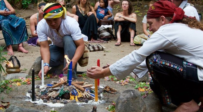Harmony in the community. Tata Isaias, Tata Michel and I lighting a ceremonial fire together for the closing ceremony of the Festival of Consciousness, San Marcos La Laguna, March 21st 2016. Picture by ‎Tuolovme Levenstein