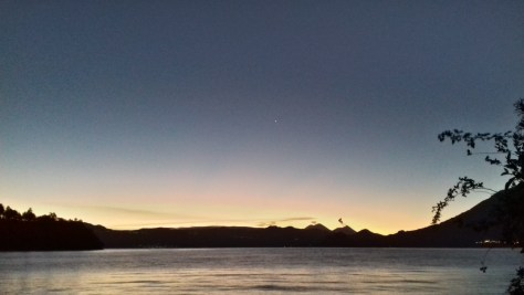 Dawn over Lake Atitlan, 21st February 2016, as seen from the garden of Flower House, San Pablo La Laguna. Picture by Mark Elmy