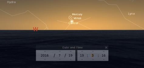 Venus appearing as an evening star for the first time after its journey behind the Sun relative to the Earth (Superior Conjunction)