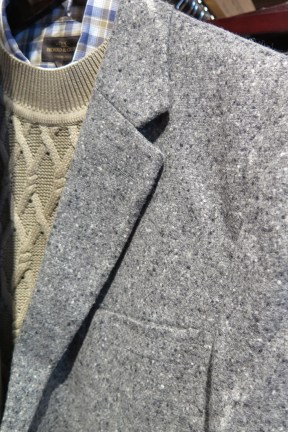 Thaddeus cable sweater with Rodd & Gunn soft coat
