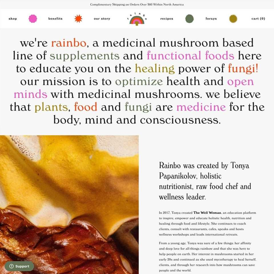 Rainbo - a medicinal mushroom based line of supplements and foods.