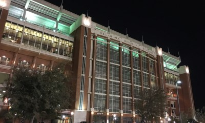 Oklahoma Memorial Stadium at night strikes a stunning post toward the end of an 18-hour day. (PHOTO: John E. Hoover)