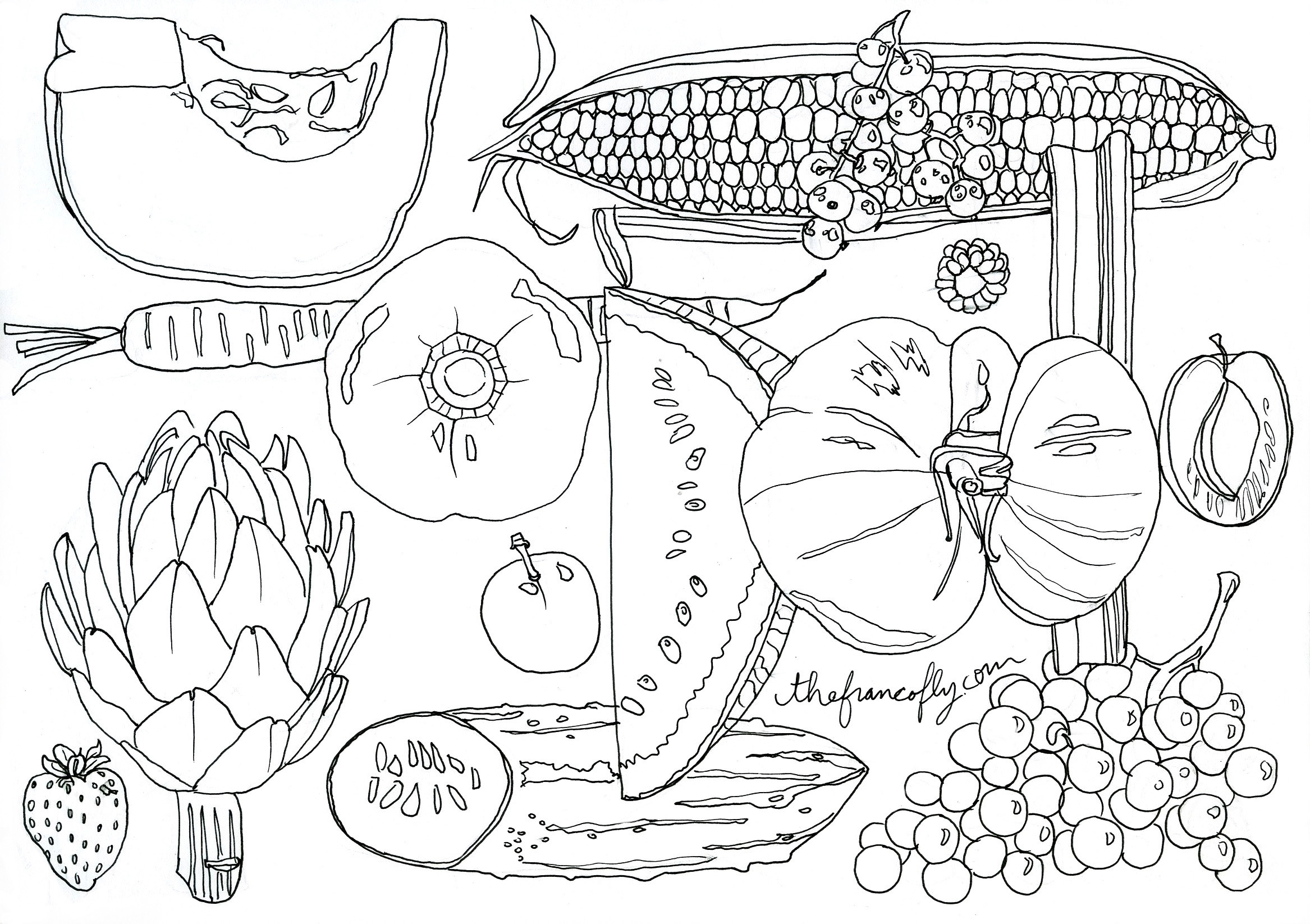 fruit and vegetable coloring book – thefrancofly
