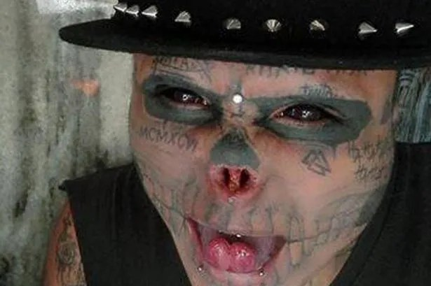 """Colombian man transforms himself into a """"living skull"""""""