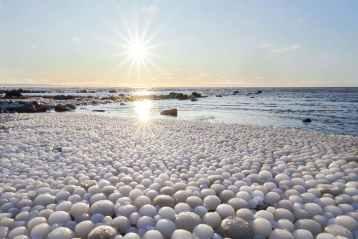 frozen balls in sea