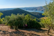 Maria and Graciete in the olive and almond orchard on the mountain slopes with a view to die for!