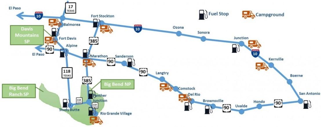 BigBend Trip Map - updated-2