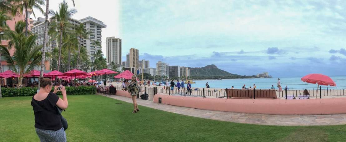Diamond Head from Royal Hawaiian Hotel's Back Lawn