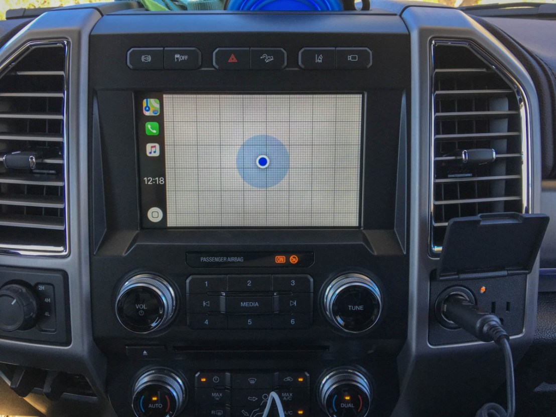 Apple Maps Displayed on Apple CarPlay on Ford F-450 Console