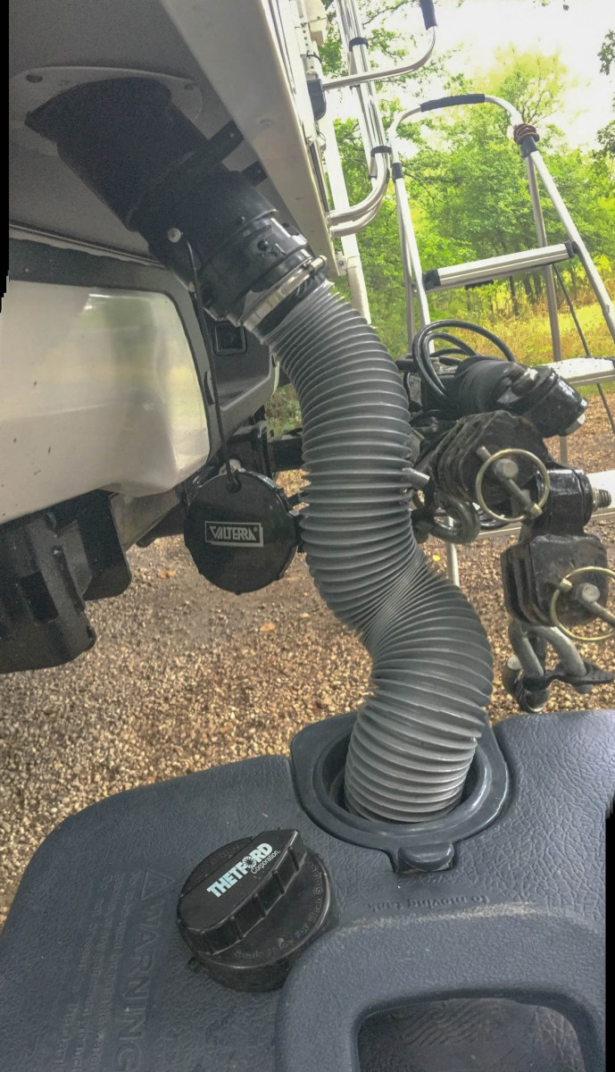 Portable RV Waste Water Tank with Integrated Sewer Hose Connected to RV Waste Outlet