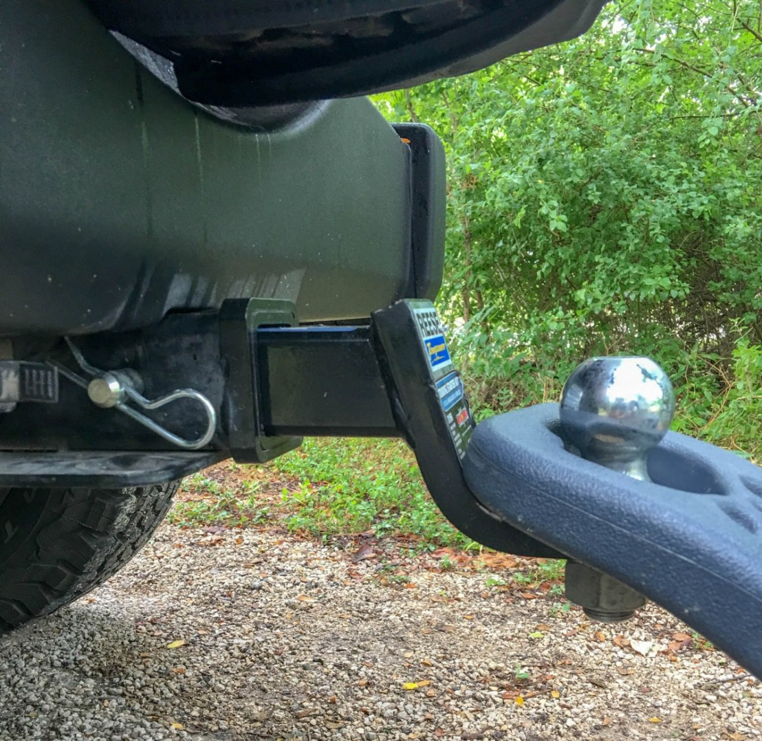 Portable RV Waste Water Tank Handle and Ball Hitch