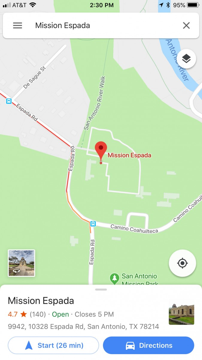 Google Maps App Displaying Mission Espada (the place)