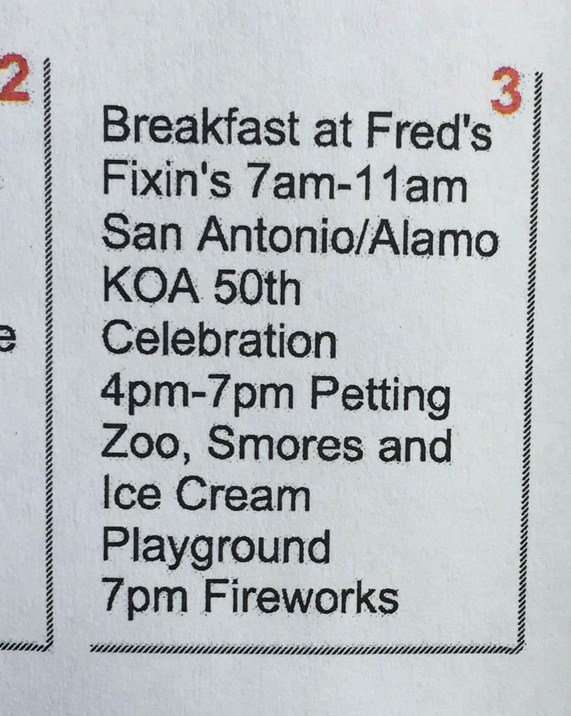 November 3 Social Calendar At The San Antonio KOA