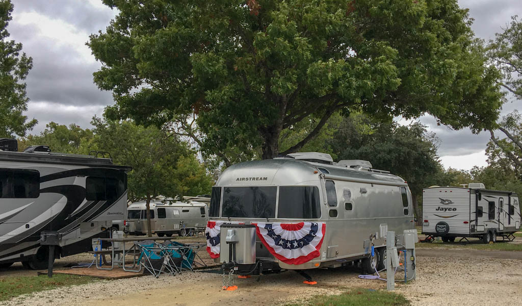 Appropriate Patriotic Labor Day Bunting on Airstream Trailer