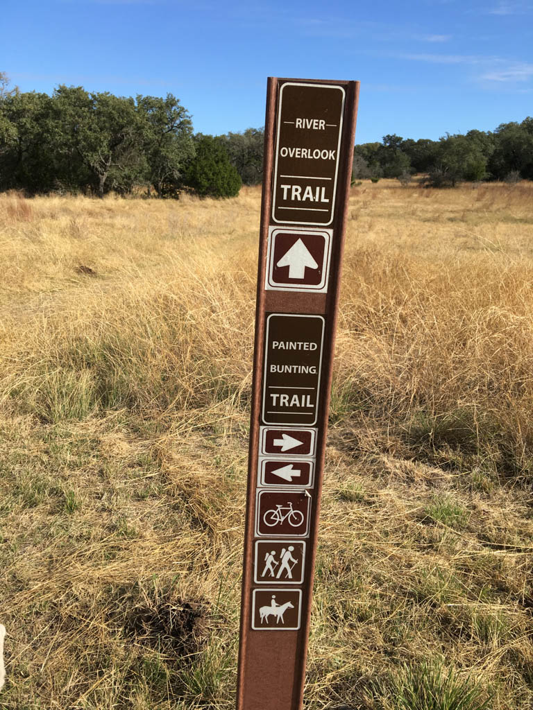 Painted Bunting and River Overlook Trail Marker