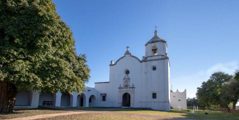 Mission Espiritu Santo Porch (left) and Church (right)