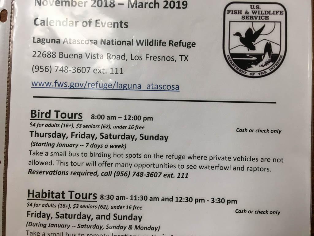 Laguna Atascosa National Wildlife Refuge Tour Schedule