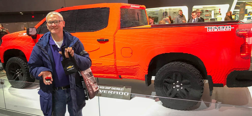 Larry Standing In Front Of Full Size Lego Chevy Silverado Model