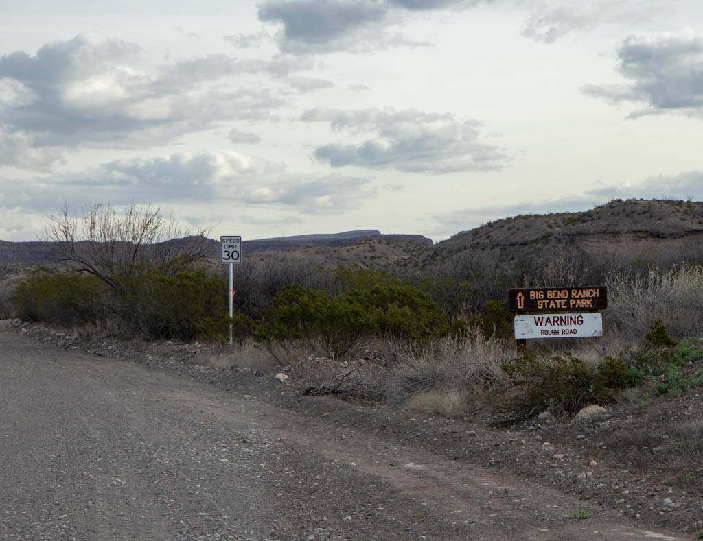 Big Bend Ranch State Park Sign On Bofecillos Road