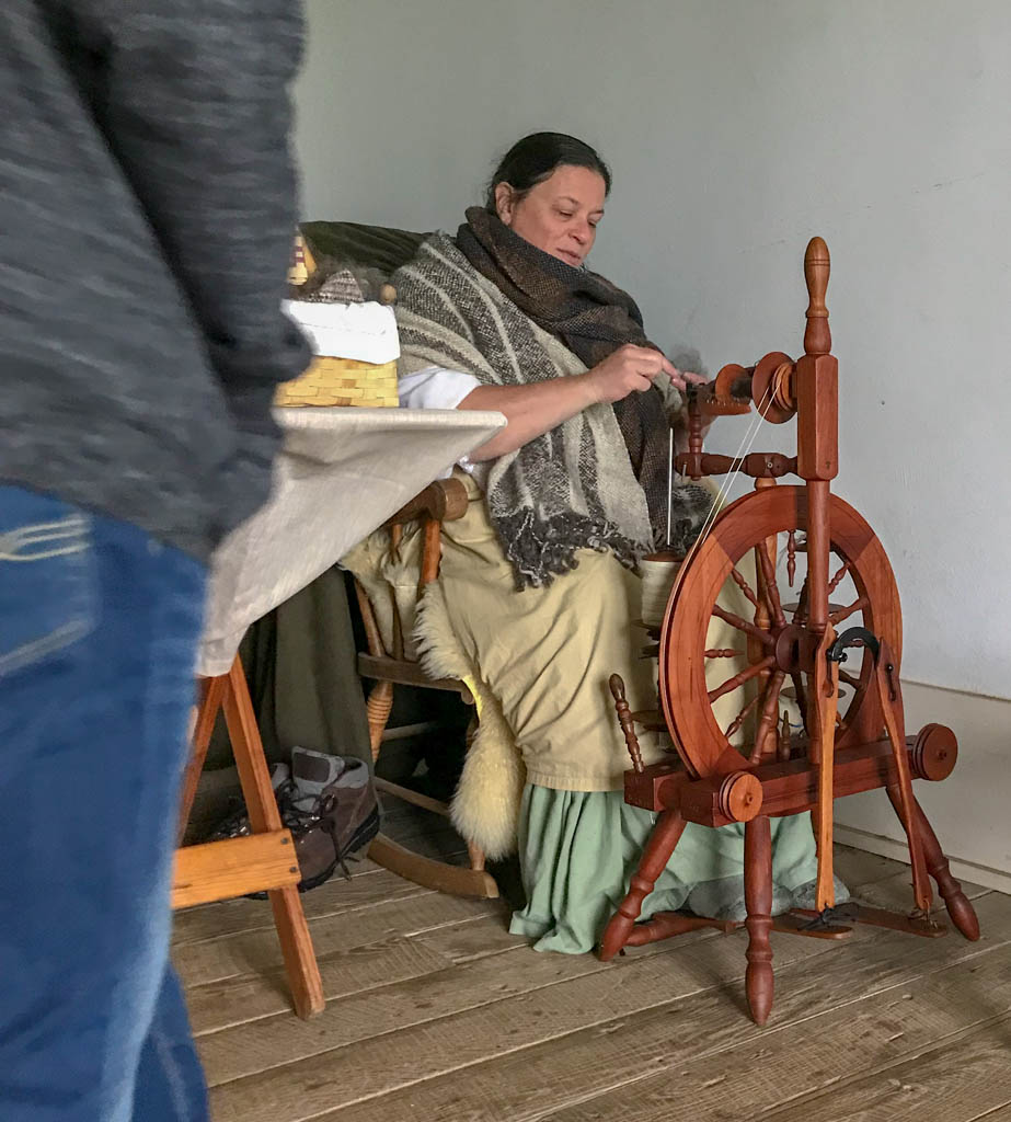 Spinning Wool Reenactor