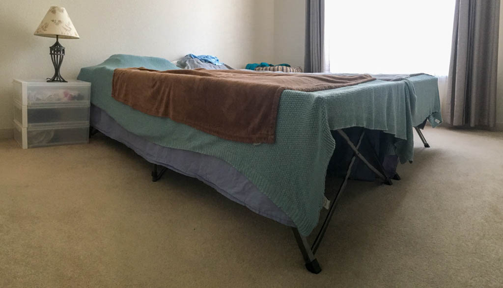 Camping Cots setup in Master Bedroom