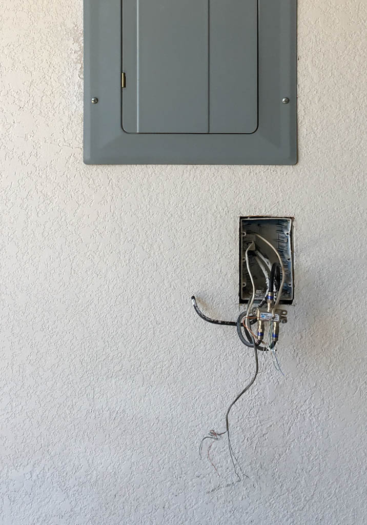 Communications Wiring Junction Box Below Electrical Panel