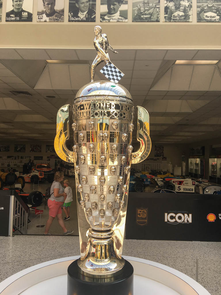 Indy 500 Trophy With Winner Names and Likenesses