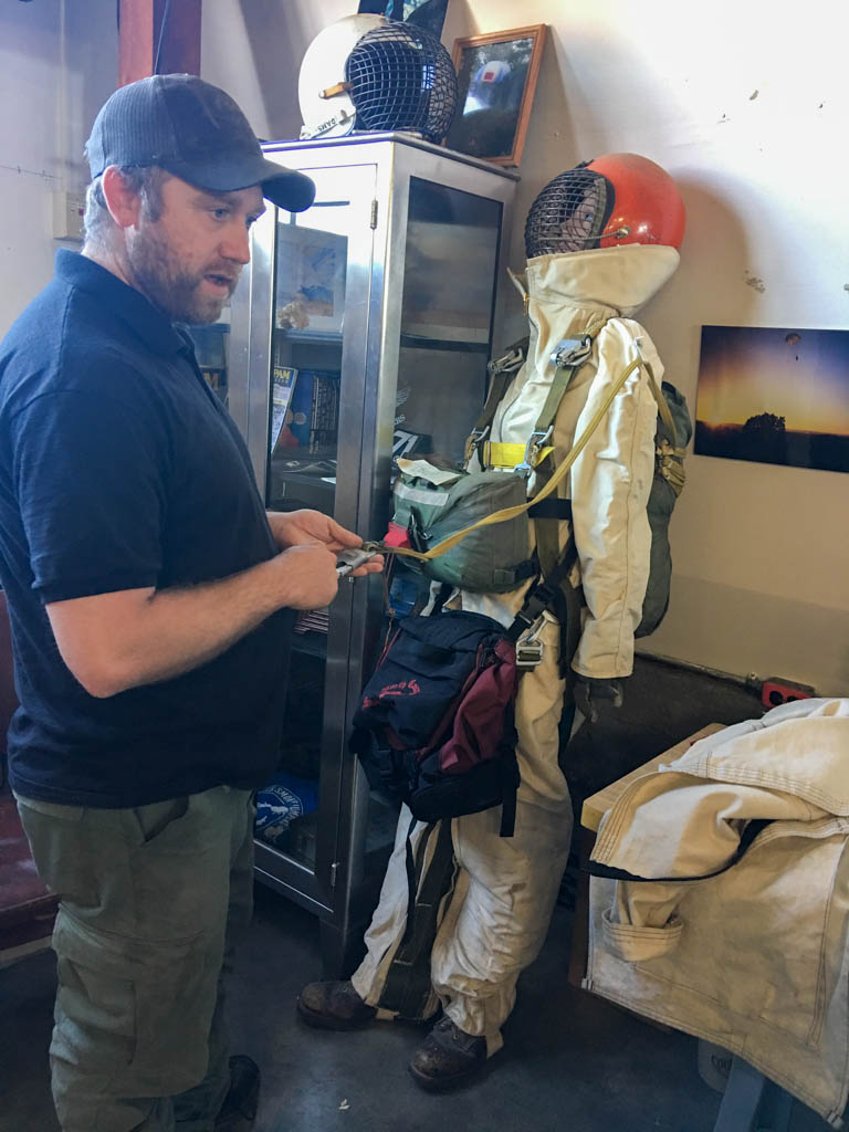 Jump Suit With Square Parachute Packs And Rigging