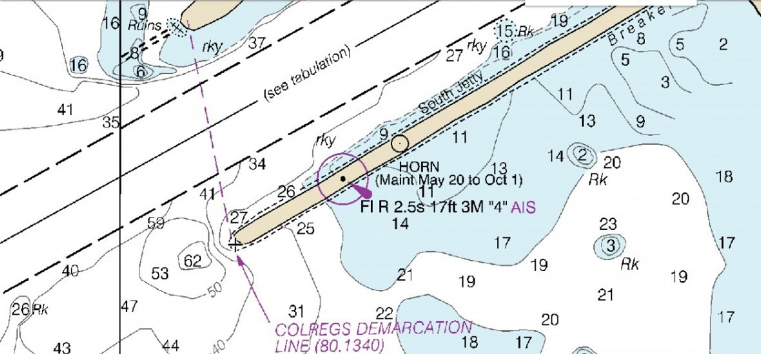 NOAA Nautical Chart Showing South Jetty Foghorn Location