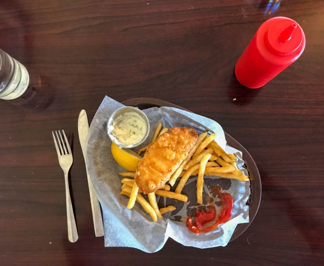 Half Eaten Fish and Chips Lunch