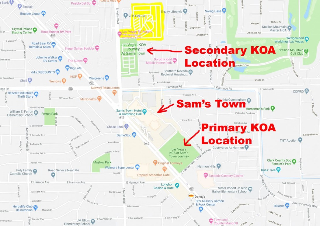 Las Vegas Map Showing Sam's Town And KOA Locations
