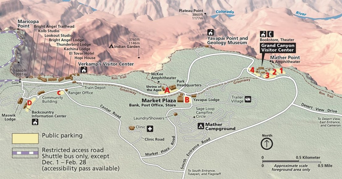 Grand Canyon National Park South Rim Parking Map