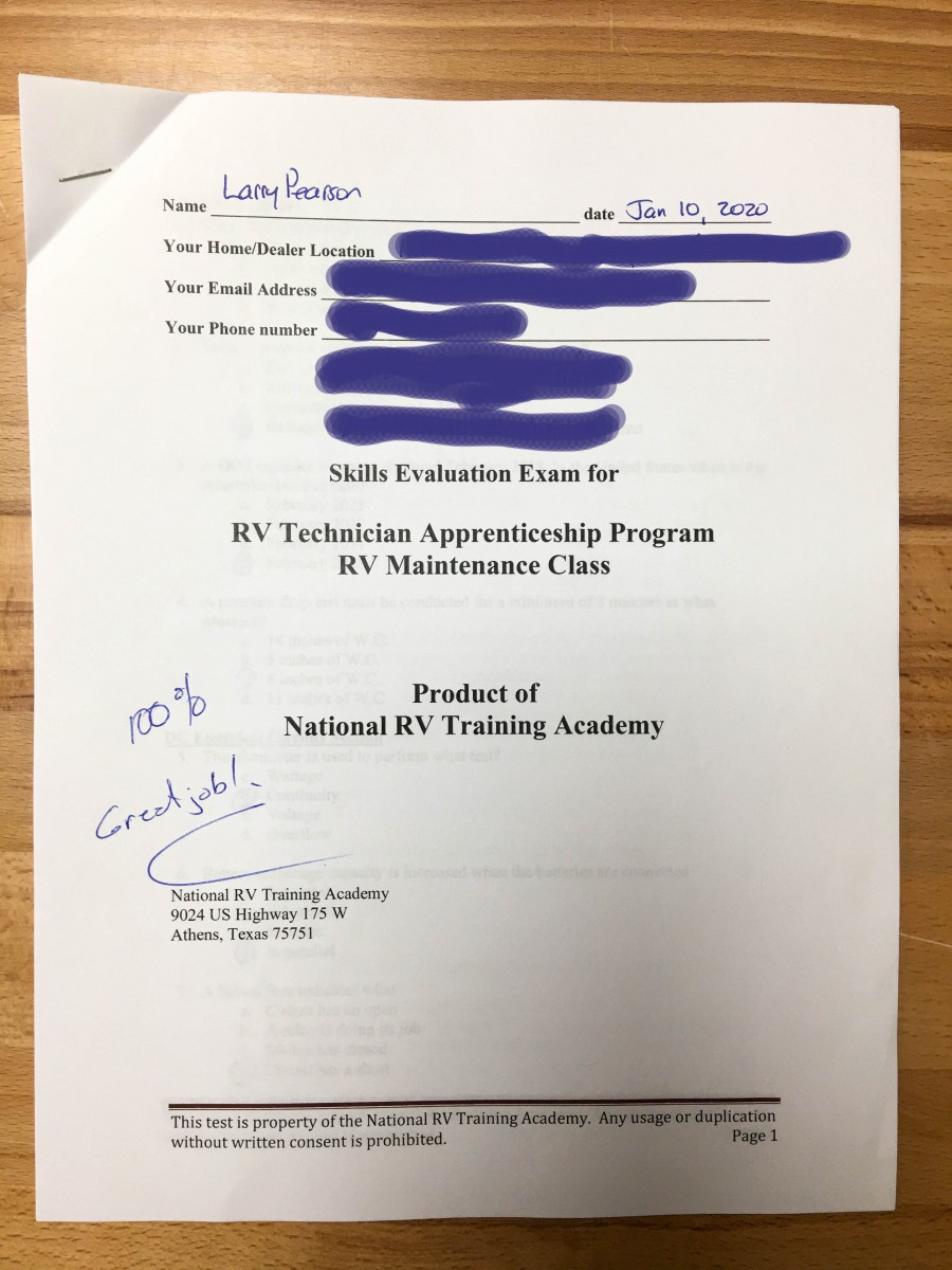 Basic RV Maintenance Training Course Final Exam Results