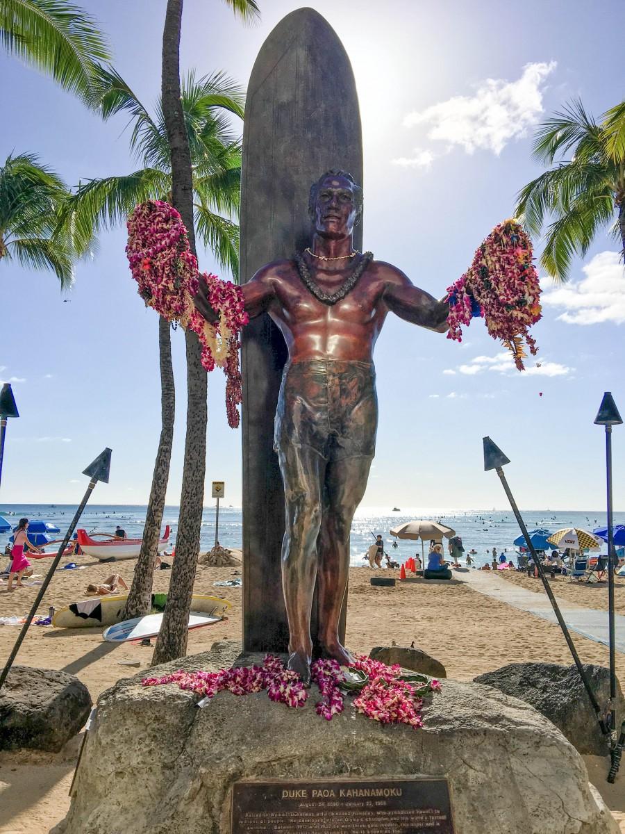 Statue of Duke Paoa Kahanamoku, Most Famous Surfer