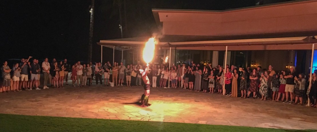 Fire Dancer Outside On The Patio