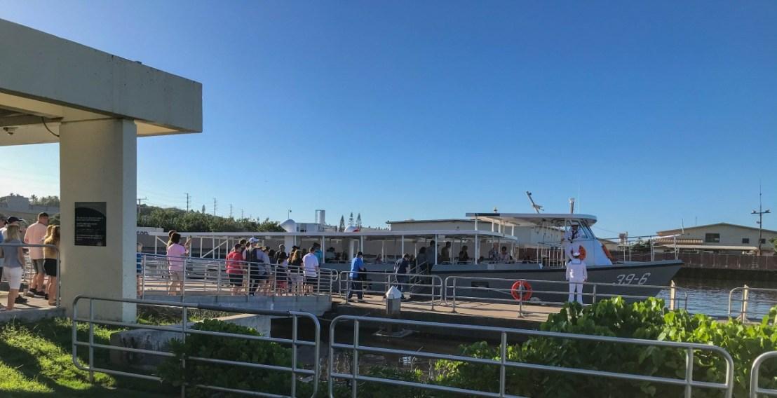 USS Arizona Memorial Visitors Boarding US Navy Vessel
