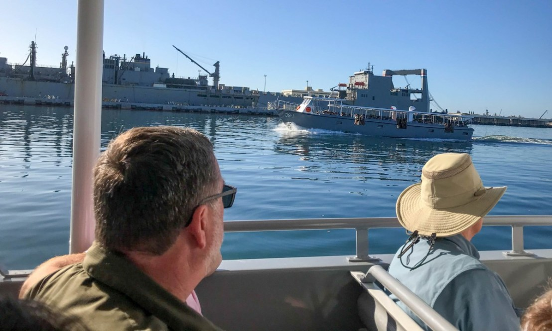 Passing A US Navy Boat With Returning Memorial Visitors