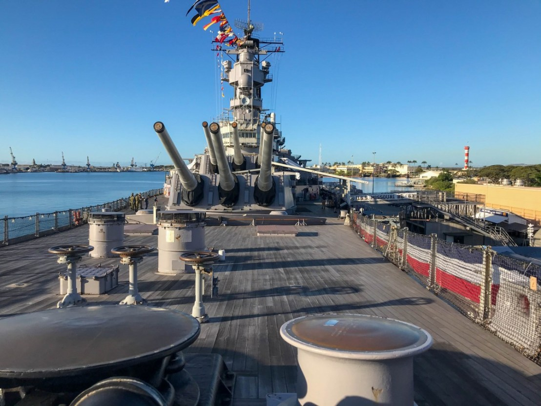 From USS Missouri Bow Looking Aft
