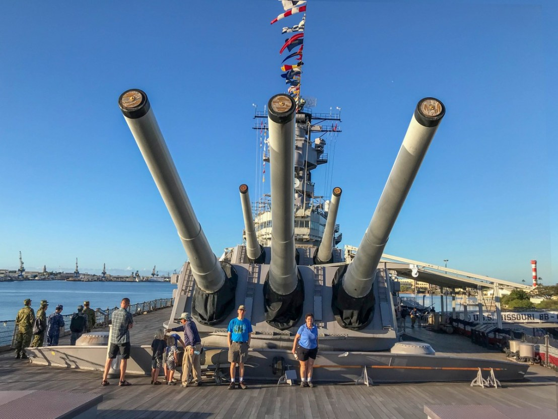 Larry And Linda Standing Under The Mighty Guns