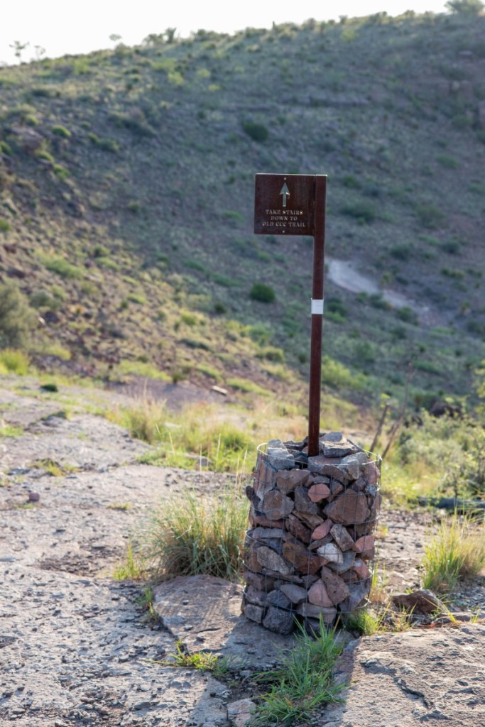 """Cairn With Sign - """"Take Stairs Down To Old CCC Trail"""""""