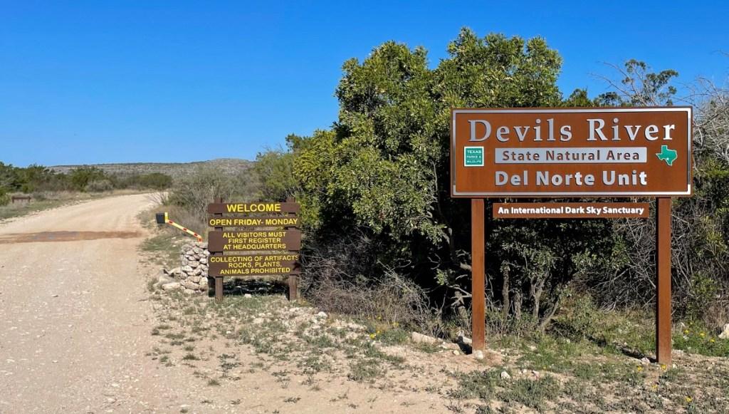 Devils River State Natural Area Park Sign