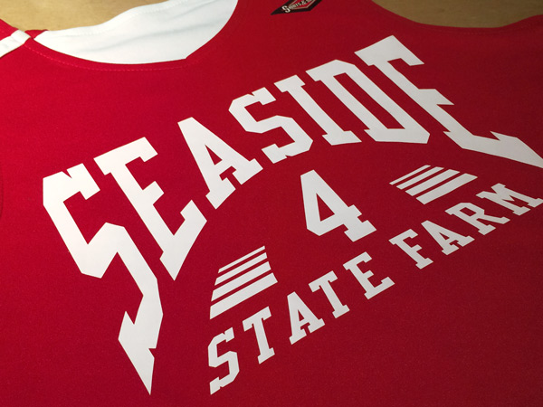 custom Sesaide State Farm sponsor basketball jersey