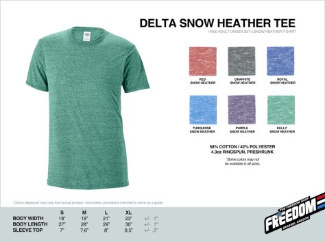 Delta Snow Heather T-shirt - Freedom stock colors 2015