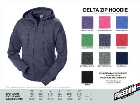 Delta Zip Hoodie - Freedom stock colors 2015