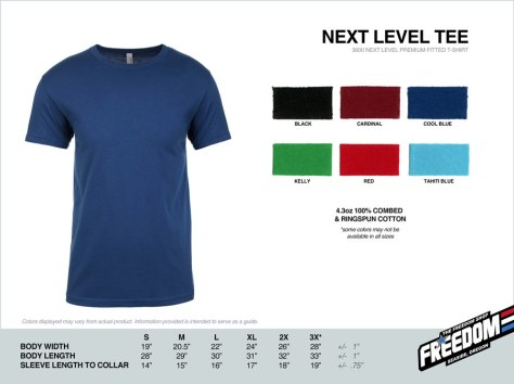 Next Level Adult T-shirt - Freedom stock colors 2015