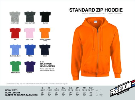 Standard Zip Hoodie - Freedom stock colors 2015